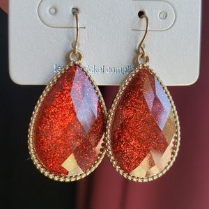 Sparkly Red Boho inspired Drop Earrings